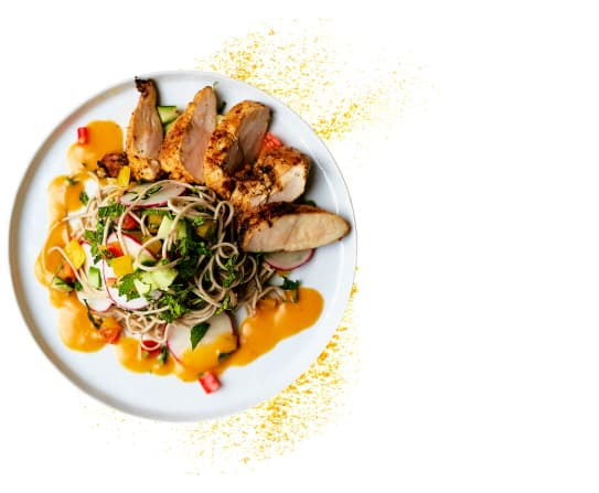 Asian-style rice noodle salad with grilled chicken and red curry vinaigrette