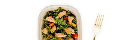 Salad in compostable container